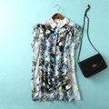 Confortável Ocasional Turn-down Collar de Manga Curta Pétala Animada Senhora Botão Blusa de Impressão Camisas Soltas Camisa das Mulheres Topos nc83