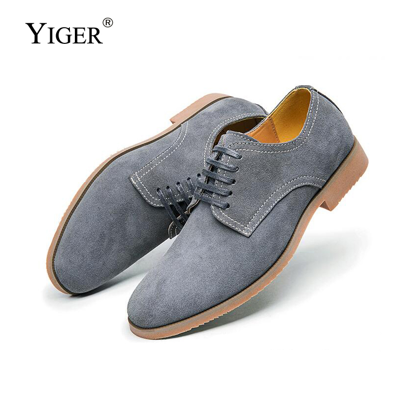 YIGER New Men s Derby shoes Men s Lace up Shoes Cow Muscle sole Cow Suede