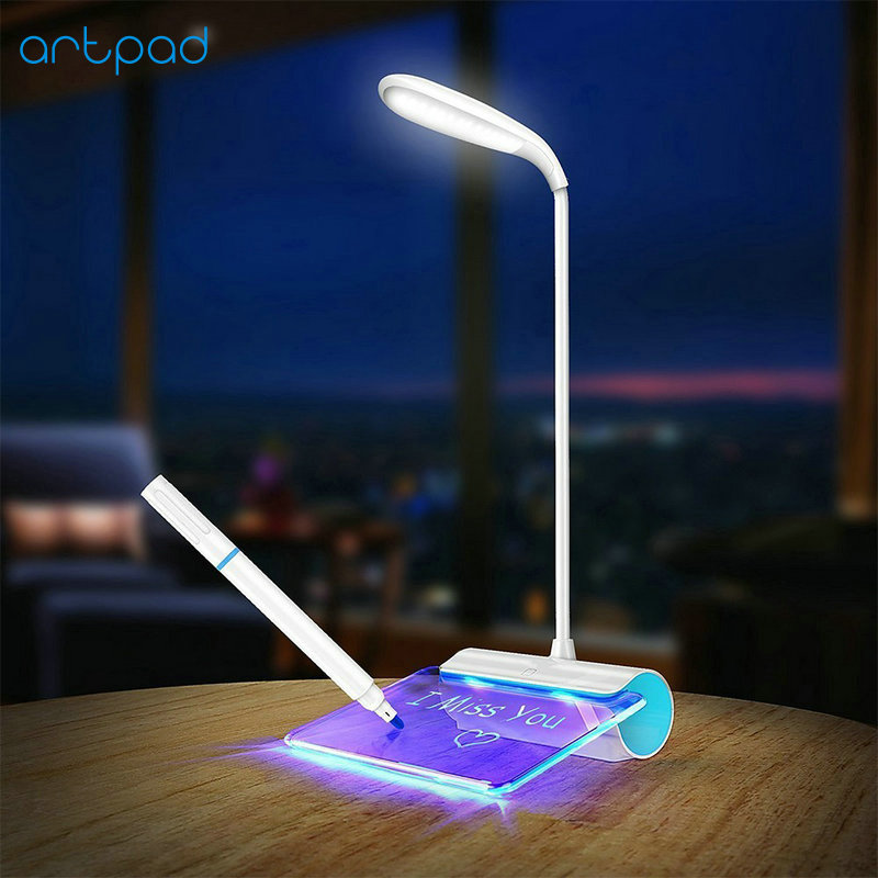 Flexible Gooseneck Rechargeable Eye Care LED Desktop Lamp USB Port Charge Dimmable Atmosphere Night Light with Message BoardFlexible Gooseneck Rechargeable Eye Care LED Desktop Lamp USB Port Charge Dimmable Atmosphere Night Light with Message Board