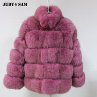2018 Real Fox Fur Coat Street Fashion Brown Purple 2 Colors Fur Jacket for Women