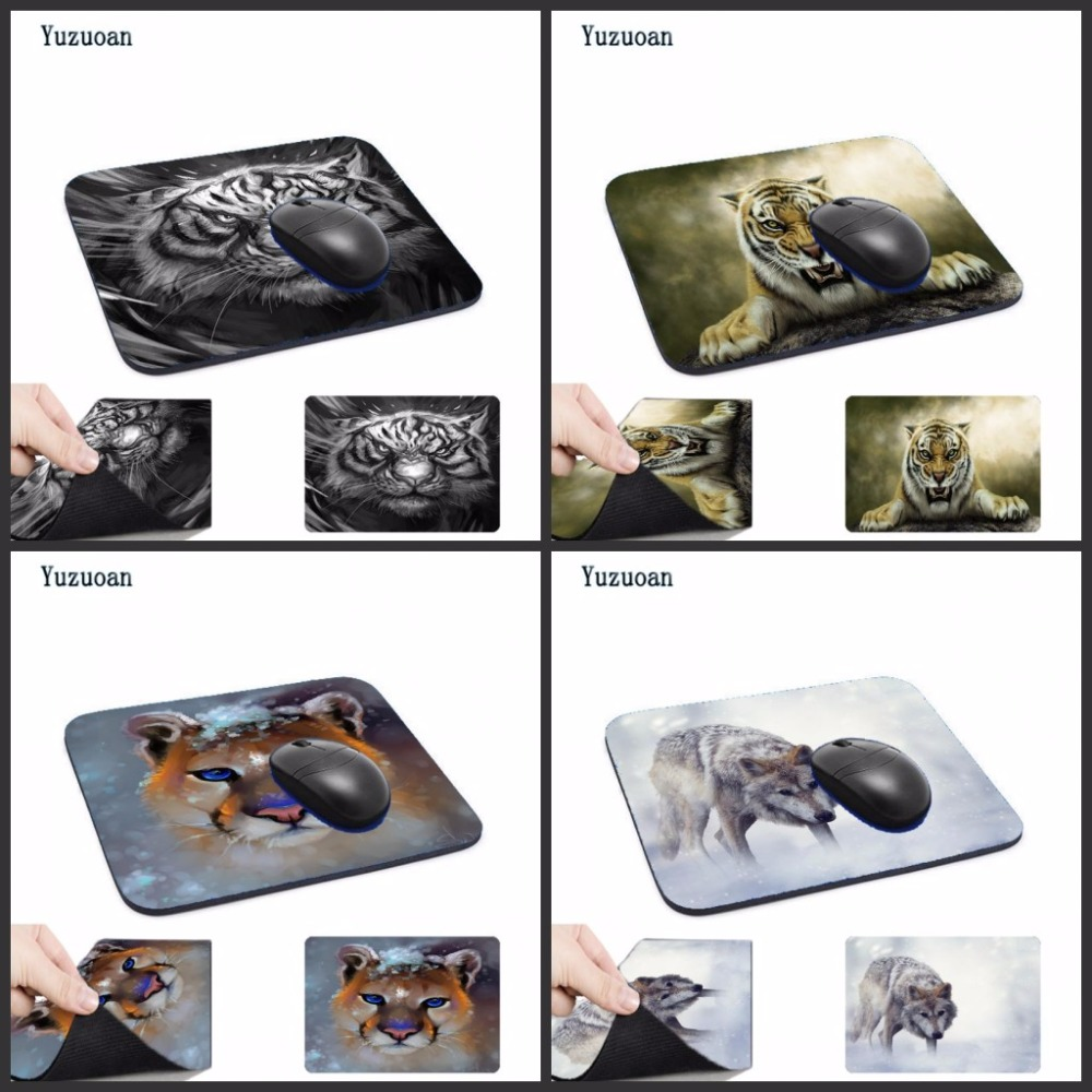 Yuzuoan Tiger Wolf Animal Printing Computer Mouse Pad Mousepads Decorate Your Desk Non-Skid Rubber Pad No Overlock Edge AS Gift ...