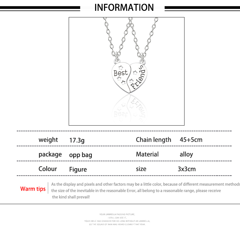 Best Friend Necklace Women Crystal Heart Tai Chi Crown Best Friends Forever Necklaces Pendants Friendship BFF Jewelry Collier 13