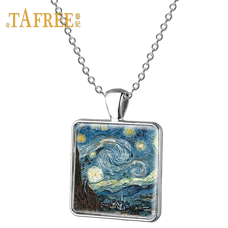 TAFREE Landscape Necklace Eiffel Tower bustling city picture square pendant necklace travel lover gift jewelry AA27