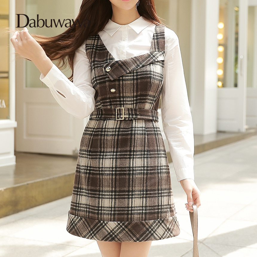 Dabuwawa 2017 Vintage Plaid Vest Skirt Natural Waisted Elegant Pencil Button Skirt Autumn Winter Jumper Skirt #D17DDX018