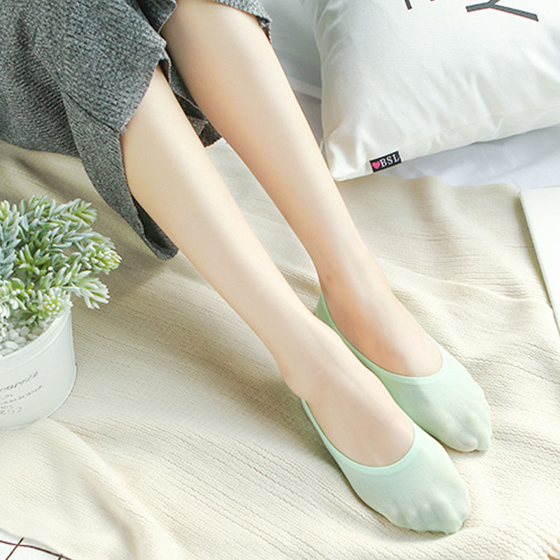 Korean Version Leisure Solid Color Short Sock Shallow Mouth Breathable Comfortable Women Nonslip Thin Short Sock Hosiery