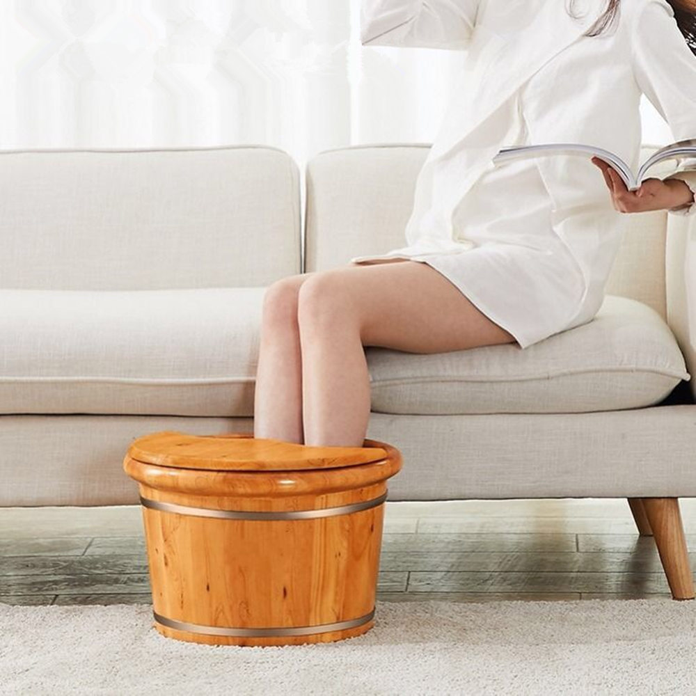 Barrel Foot Bath Household Foot Tub Solid Wood Steam Fumigation Barrel For Adult Pedicure Massage Wooden Bucket Foot Bath in Sanitary Ware Suite from Home Improvement