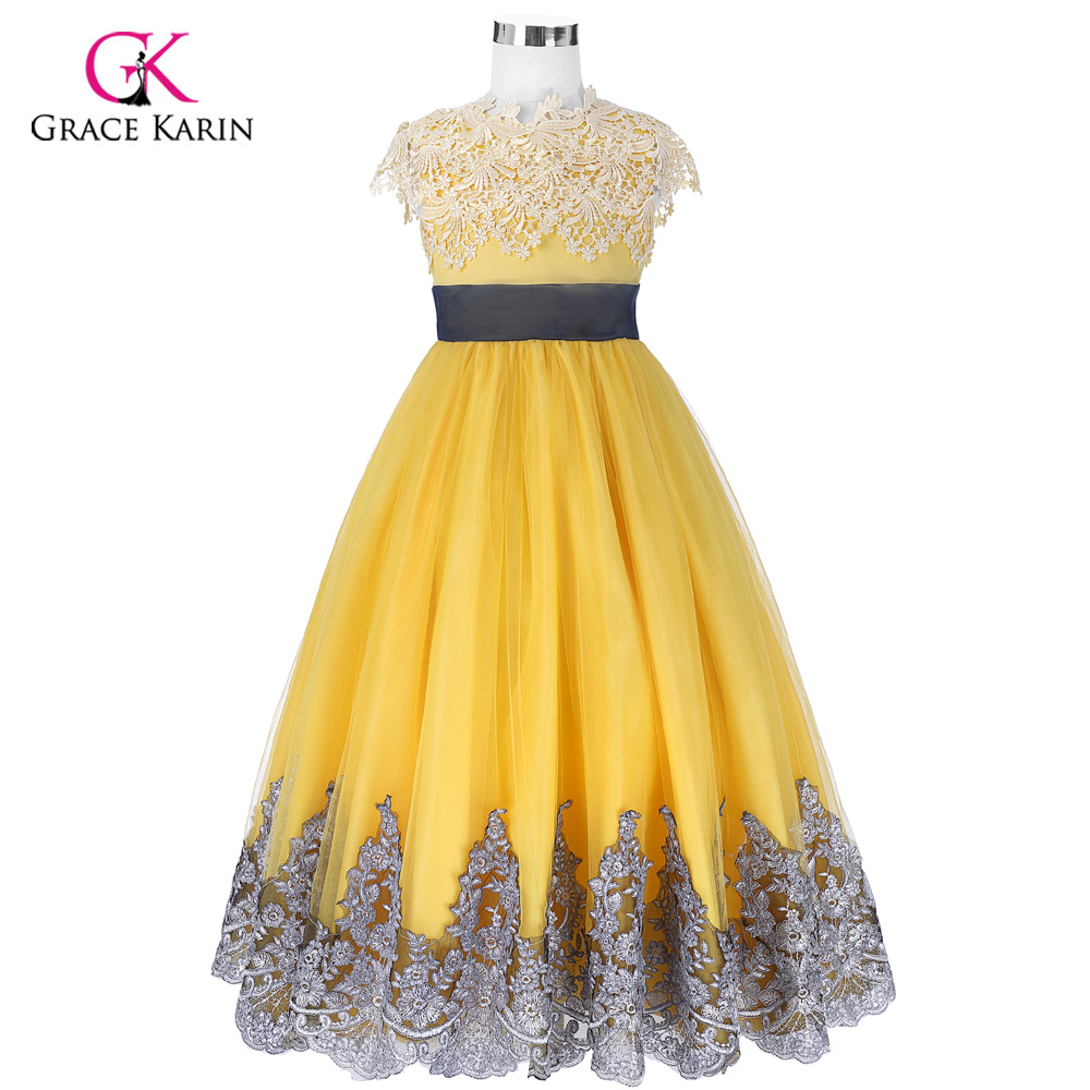 Big Bow   Girls     Dresses   Pricess Ball Gown Yellow   Flower     Girl     Dresses   for Wedding Party Pageant Communion Gowns Kids Children   Dress