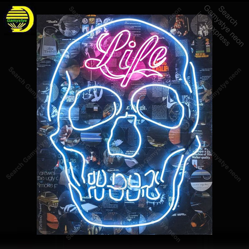 Neon Signs For Sale >> Us 176 62 25 Off Neon Sign For Skull Life Light Lampara Neon Signs Sale Vintage Neon Light For Windower Wall Custom Made Decorate Free Design In