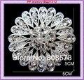 Bling Bling Clear Austria cristales Snuflower broche para mujer plateado aleación del partido del traje de cuello al por menor
