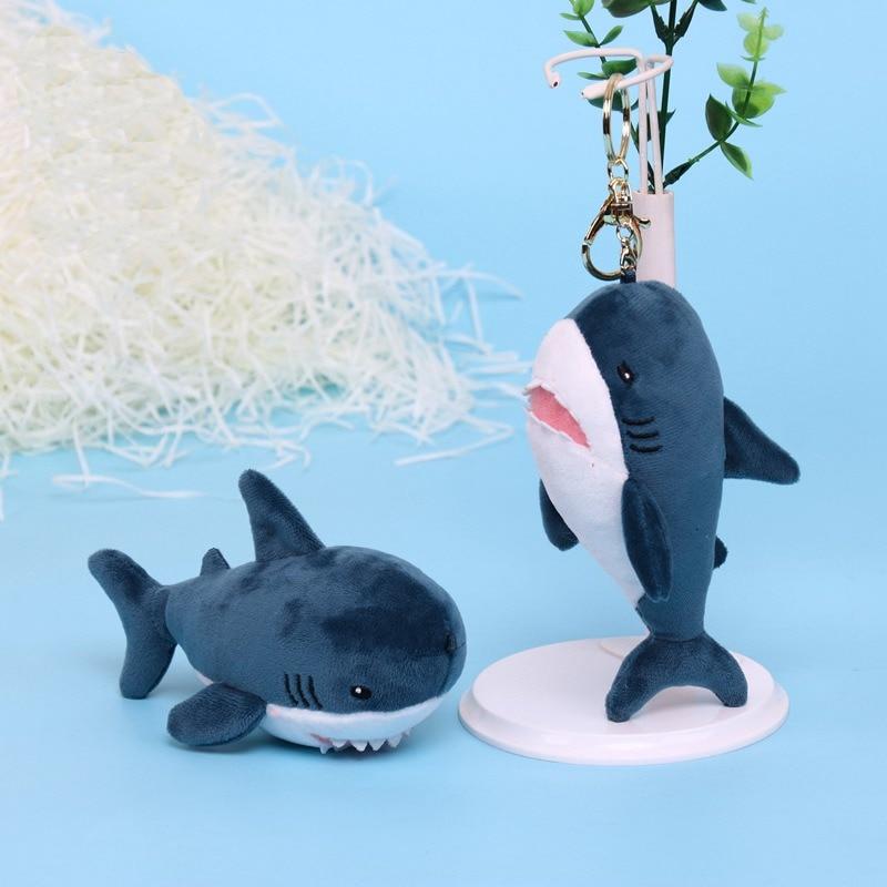 15cm Cute Simulation Shark Plush Key Chain Pendant Toys Soft Cartoon Whale Stuffed Doll Backpack Keychain Bag Pendant Kids Gifts