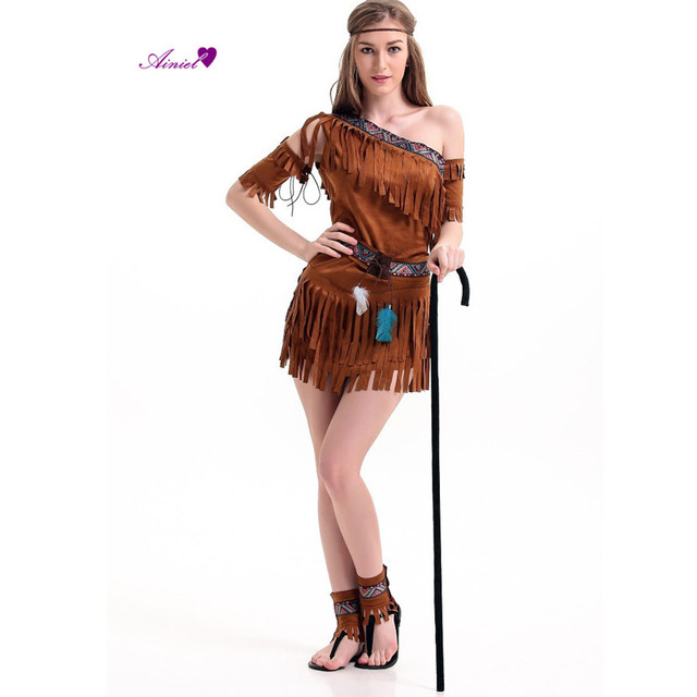 5eaa155d5 Halloween costume Ladies Pocahontas Native American Indian West Fancy Dress  Sexy Halloween Party Indian Princess Outfit CS01166