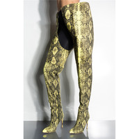 New 2019 Fashion Winter Women Snake Print Over Knee Waist Pant Boots Women Sexy Python Snakeskin Thigh High Long Crotch Boots