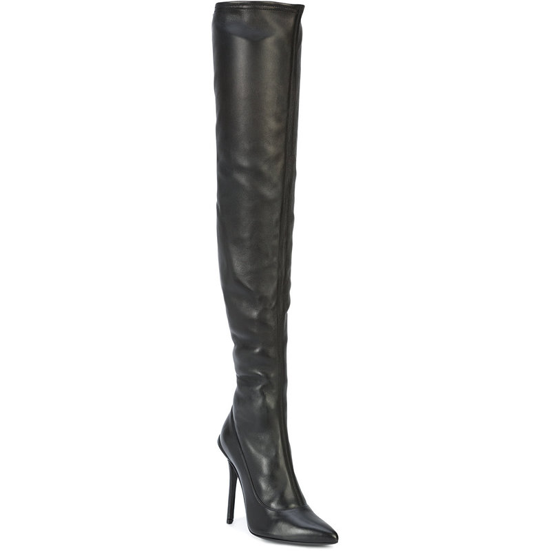 2018 Europe and the United States knee fashion sexy boots high-heeled pointed stretch stretch thigh boots size 34-48
