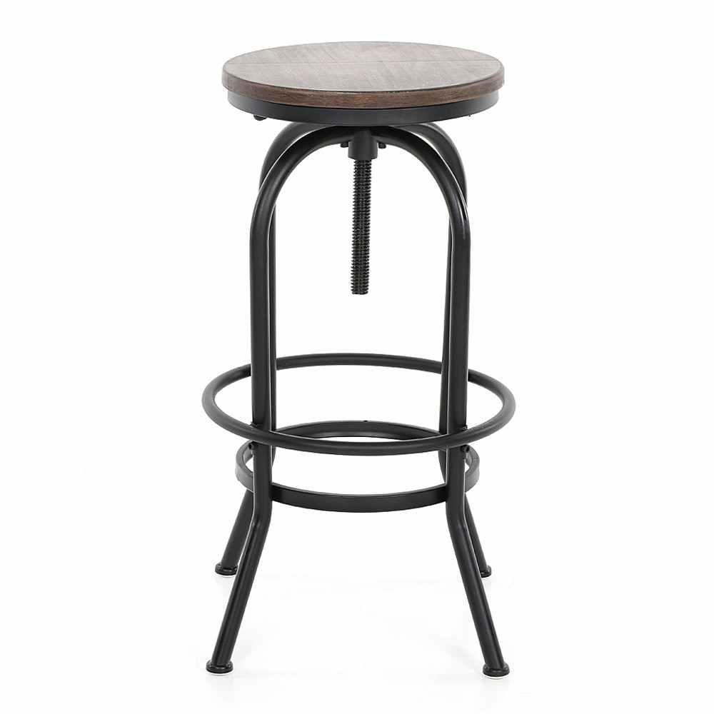 IKayaa барный стул, промышленный стиль, регулируемая высота, поворотный барный стул, натуральная сосновая древесина, верхний кухонный обеденный стул для завтрака