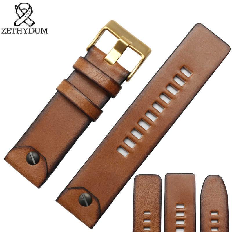 Correa de reloj de cuero genuino para correa de reloj diésel 22 24 26mm marrón restaurando antiguos relojes de pulsera hebilla de cinturón