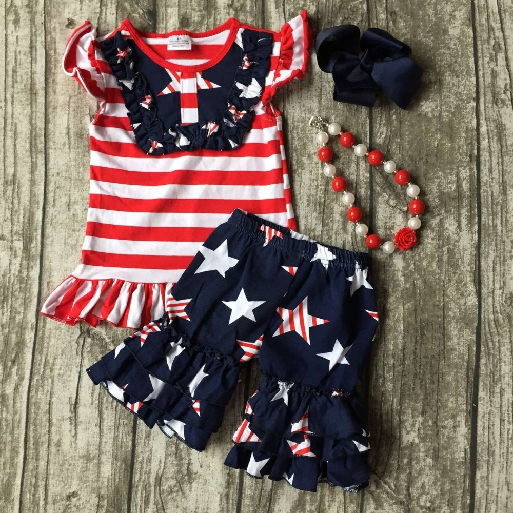 baby girls summer capri clothing children July 4th Patriotic clothes girl red stripe top with star ruffle shorts with accessorie baby girls summer clothing girls july 4th anchored in god s word shorts clothes kids anchor clothing with accessories