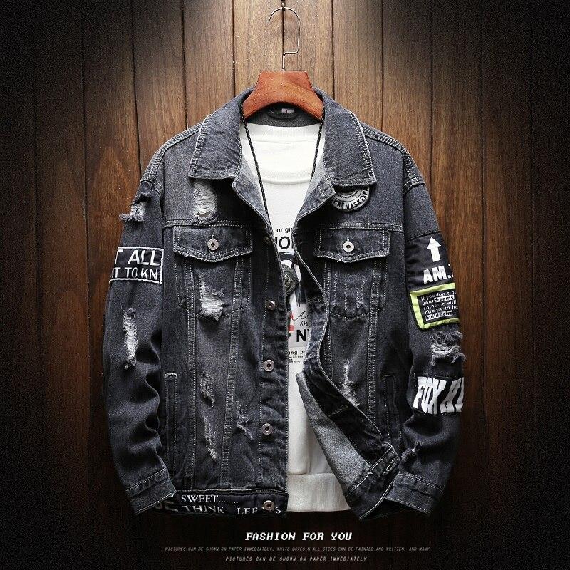 Мужские куртки и пальто, черные джинсы с дырками, новые модные весенне осенние Свободные повседневные джинсы, верхняя одежда, джинсовые куртки|Куртки|   | АлиЭкспресс