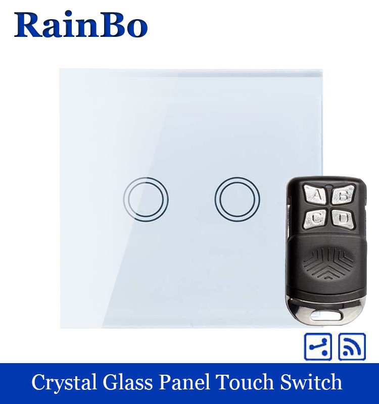 rainbo Remote Touch Switch Screen Crystal Glass Panel wall switch EU 110~250V  all Light Switch 2gang2way A1924XW/BR01 crystal glass panel smart wireless switch eu wall switch 110 250v remote touch switch screen wall light switch 1gang 1way black