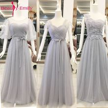 Beauty Emily Tulle Gray Sleeveless Long Bridesmaid Dresses 2017 Ruffles A line Formal Party Prom Gowns vestido de festa