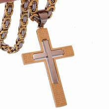 Silver Gold Color Mens Byzantine Chain Necklace 6mm Stainless Steel Jewelry 18-36 Inches Option Fashion Jesus Cross Pendant