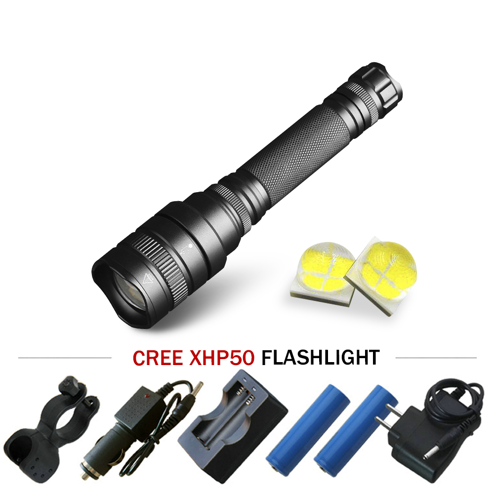 Spirited Rechargeable Flashlight Searchlight 18650 Powerful Led Flashlight Telescopic Zoom Xhp50 Torch Camping Led Lantern Lampe Torche Fine Quality Led Lighting