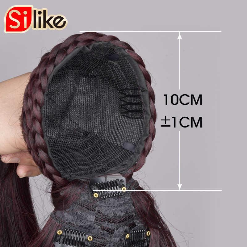 Długi prosty ściągacz syntetyczne kucyk z Bang czarny/brązowy odporność na ciepło Hairpiece włosy clip in rozszerzenia dla kobiety