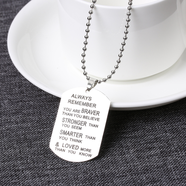 2017 newest hot stainless steel army friendship dog tag pendant 2017 newest hot stainless steel army friendship dog tag pendant chain silver vouge necklace nice gift mozeypictures Image collections