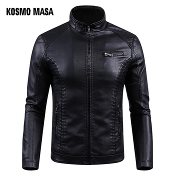 KOSMO MASA Black Motorcycle Casual Faux Leather Jacket for Men Autumn Winter Pilot Pu Male Leather Jackets Big Sizes 5XL MF015