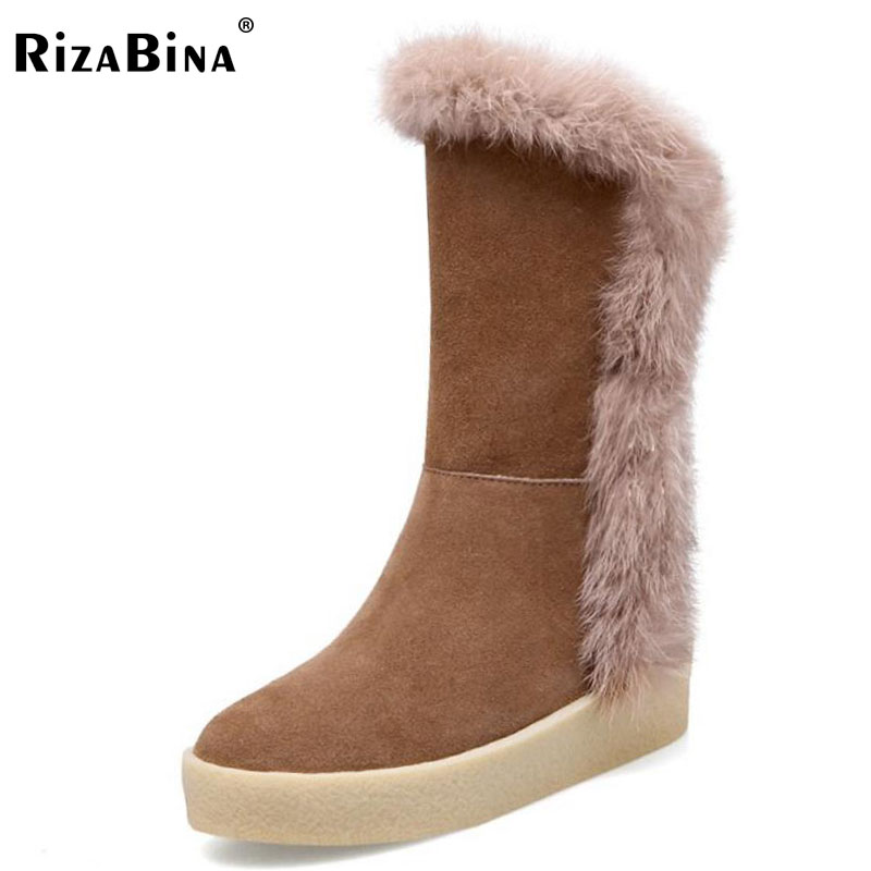 RizaBina Woman Real Leather Platform Mid Calf Boots Women Thick Fur Warm Boot Zipper Trifle Winter Shoes Botas Mujer Size 34-39 double buckle cross straps mid calf boots