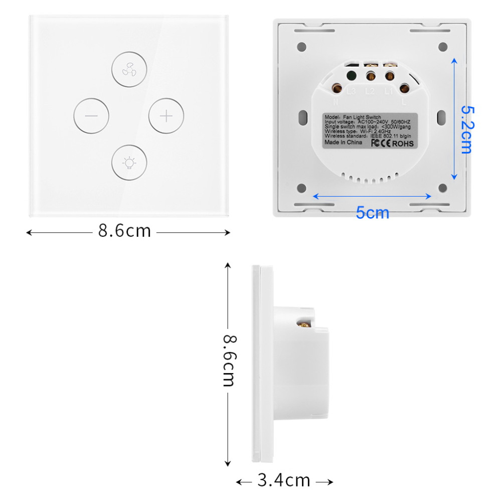 Image 3 - EU Smart Wifi Touch Fan / Lamp Switch Light Remote Control Wall Voice Timer Compatible with Alexa Google Home-in Smart Remote Control from Consumer Electronics