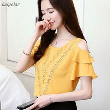 Blouses 2018 Fashion Women Sexy Off Shoulder Embroidered Chiffon Blouse Short Sleeve Ruffled Shirt Casual Loose Ladies Clothing off the shoulder ruffled blouse for women