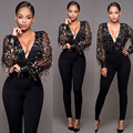 2016 Hot fashion ladies full sleeve long rompers black patchwork lace rompers v-neck sexy club wear S9652