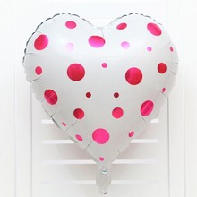 White wave point balloon 5pcs/lot18 inch red heart-shaped foil balloons wedding decoration baby birthday party ballon supplies