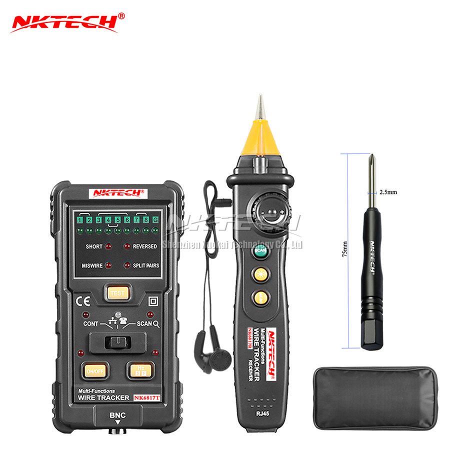 NKTECH NK6817 Cable Wire Tracker Tester Network LAN Internet Finder Telephone RJ45 RJ11 BNC STP UTP Line Detector Continuity 2017 new mastech ms6811 handheld network cable tester line tracker utp and stp wiring test meter
