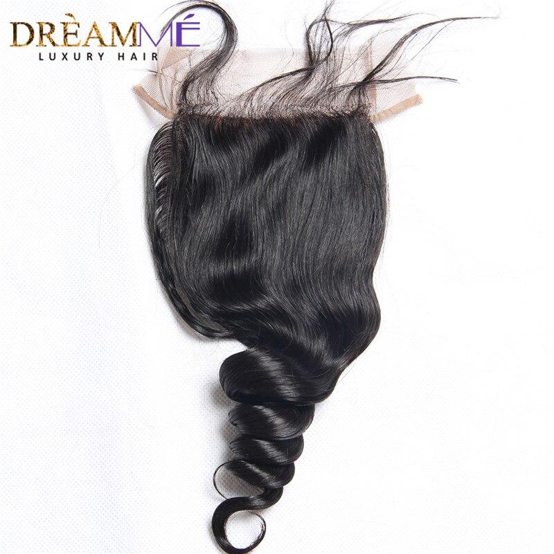 Dreamme 헤어 루즈 웨이브 페루 레미 헤어 실크베이스 - 인간의 머리카락 (검은 색) - 사진 2