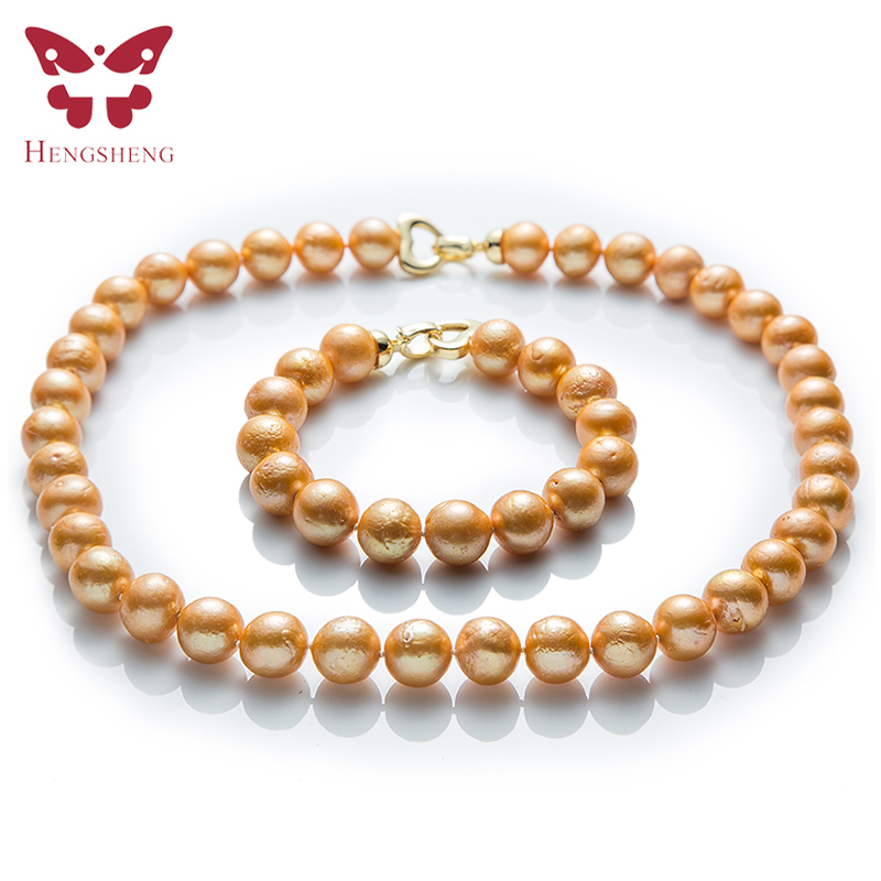 Natural Gold Freshwater Pearl Jewelry Sets Necklace Bracelet Near Round Edison Pearl Fashion 925 Sterling Silver