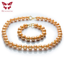 Natural Gold Freshwater Pearl Jewelry Sets,Necklace&Bracelet,Near Round Edison Pearl,Fashion 925 Sterling Silver Beads Jewelry(China)