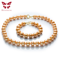 Natural Gold Freshwater Pearl Jewelry Sets,Necklace&Bracelet,Near Round Edison Pearl,Fashion 925 Sterling Silver Beads Jewelry