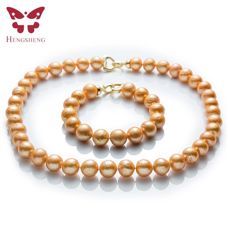 Naturel Or Perle D'eau Douce Ensembles de Bijoux, Collier et Bracelet, Près de Ronde Edison Perle, Mode 925 Sterling Argent perles Bijoux
