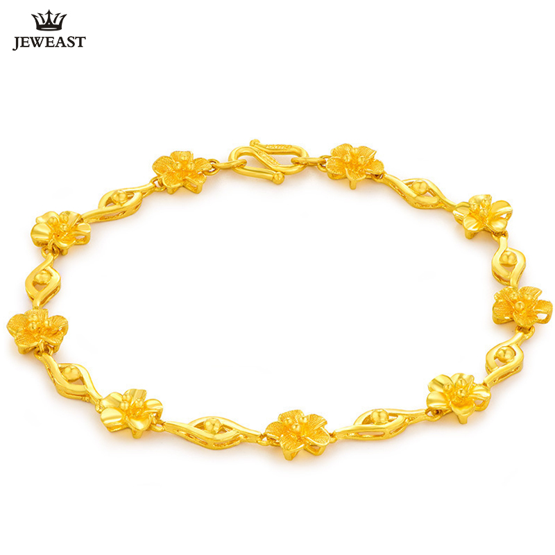 Pulsera de oro puro de 24 K Real 999 brazalete de oro sólido brillante encantadora hermosa flor de moda clásica joyería de fiesta Venta caliente nuevo 2018