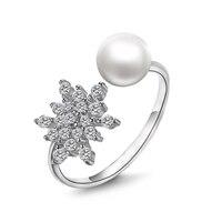 YKIN S925 Silver Korean Fashion Natural Pearl Snowflake Ring