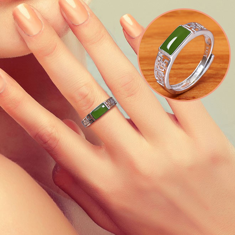 2019 Anniversary Rings Limited Lovers Ring Anillos Anel Masculino Hetian S925 Silver-inlaid Saddle Opening Fresh Gift For And 2019 Anniversary Rings Limited Lovers Ring Anillos Anel Masculino Hetian S925 Silver-inlaid Saddle Opening Fresh Gift For And