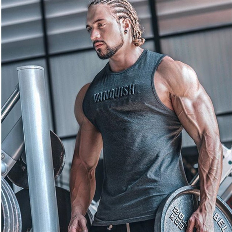 2019 Concavo Convex Letters Cotton   Tank     Tops   Gyms New Summer Bodybuilding Fitness Vest Male Sleeveless Shirt Undershirt Mens
