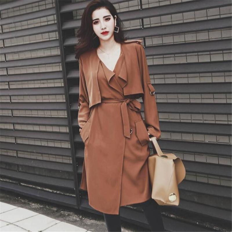 Long Women   Trench   Coat Female Casual Elegant Long Sleeve Autumn 2019 Windbreaker Turn Down Collar Women Coats Ma5016