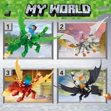 Мой Мир Дракон строительные блоки, совместимые LegoINGLYS Minecrafter зомби подарки сборка «сделай сам», игрушки для детей, 4 в 1