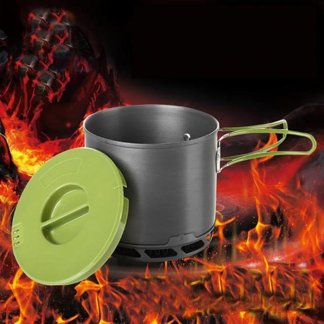 Portable Camping Pot Folding Handle 1200mL Camping Pot Outdoor Travel Hiking Backpacking Cookware Outdoor Tool for Picnic