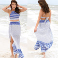 GZDL Hot Sale Sexy New Style Summer Sexy Women Casual Beach Bandage Two Piece Crop Top+Long  Dress Set Blue Color CL2872