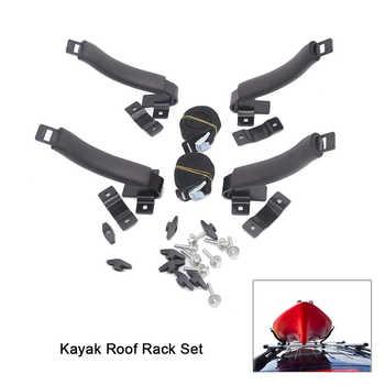 Kayak Roof Rack Set Truck Car 4 V-racks Top Kayak Carrier Holder for Canoe Boat on Vehicle Truck Cross Bar Kayak Accessories