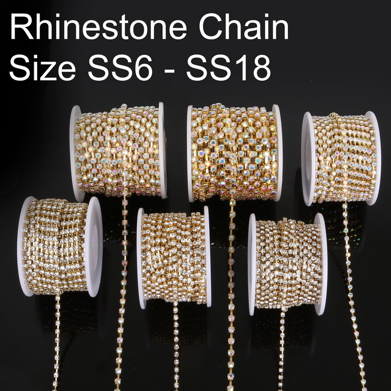 Top Sale 10 yard roll Copper Claw With Transparent white AB Glass Rhinestone  Chain 6a38cde6680c