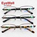 Empresários da moda frame ótico com o templo de acetato de alta qualidade mais popular metade rim óculos para miopia masculino e óculos de leitura